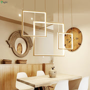Modern Frame Style Pendant Chandelier (Various Options) Flush Mount