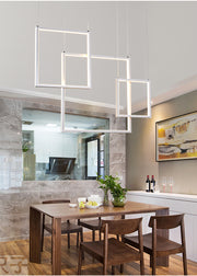 Modern Frame Style Pendant Chandelier (Various Options) 3 Frames / Warm White Flush Mount