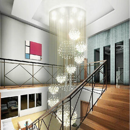 Luxury Modern Crystal Staircase Chanderlier Flush Mount