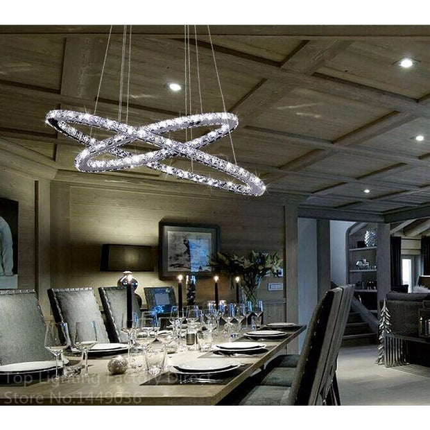 Modern Double Oval Crystal Chandelier Surface Mounted