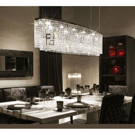 Modern Rectangular Crystal Chandelier Flush Mount