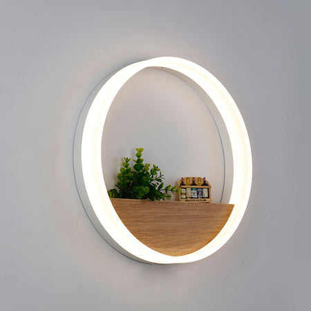 Modern Circular Wall Light With Shelf Mounted