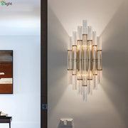 Modern Crystal And Gold Tubed Style Wall Light Mounted
