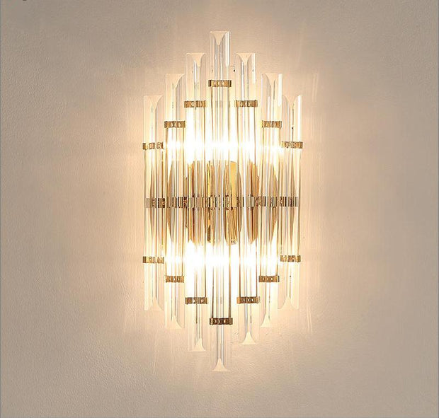Modern Crystal And Gold Tubed Style Wall Light / Warm White Mounted