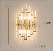Modern Crystal And Gold Tubed Style Wall Light / Cold White Mounted