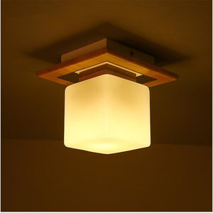 Modern Solid Wood and Frosted Glass Ceiling Light