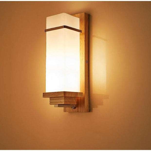 Modern Simple Solid Wooded Wall Light Warm Light Flush Mount