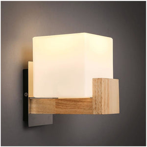Modern Square Wood and Frosted Glass Wall Lamp