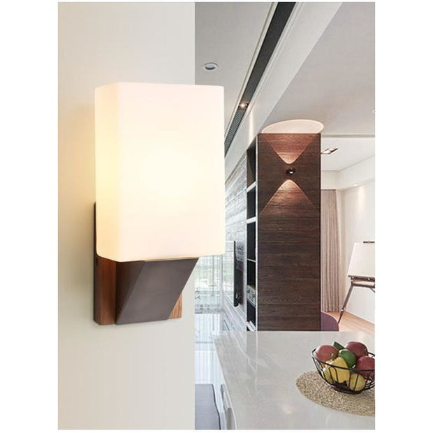 Wooden Wall Lamp (Various Options) Style B / Cold White Mounted