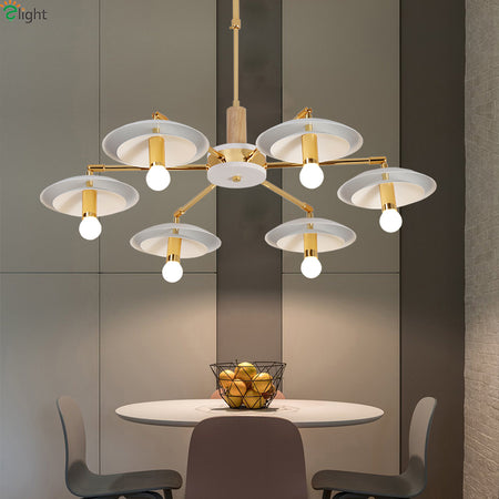 Modern Gold Rotatable Chandeliers (Various Options) Flush Mount