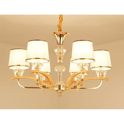Classic Wood & Gold Color Chandelier 6 Lights / Warm White Flush Mount