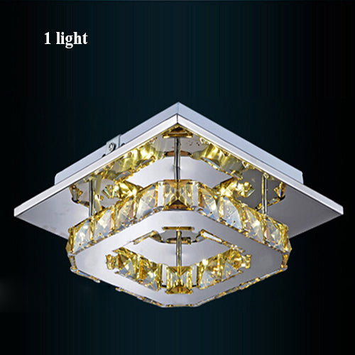 Crystal Square Chandeliers (Various Options) 1 Light / Clear Crystal Warm Flush Mount