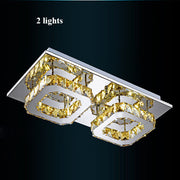 Crystal Square Chandeliers (Various Options) 2 Lights / Clear Crystal Warm Light Flush Mount