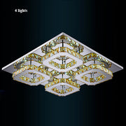 Crystal Square Chandeliers (Various Options) 4 Lights / Clear Crystal Warm Light Flush Mount