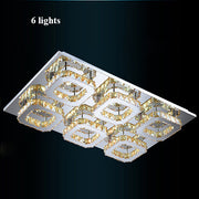 Crystal Square Chandeliers (Various Options) 6 Lights / Clear Crystal Warm Light Flush Mount