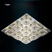 Crystal Square Chandeliers (Various Options) 9 Lights / Clear Crystal Warm Light Flush Mount