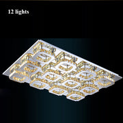 Crystal Square Chandeliers (Various Options) 12 Lights / Clear Crystal Warm Light Flush Mount