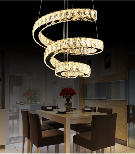 Modern Spiral Crystal Chandelier Flush Mount
