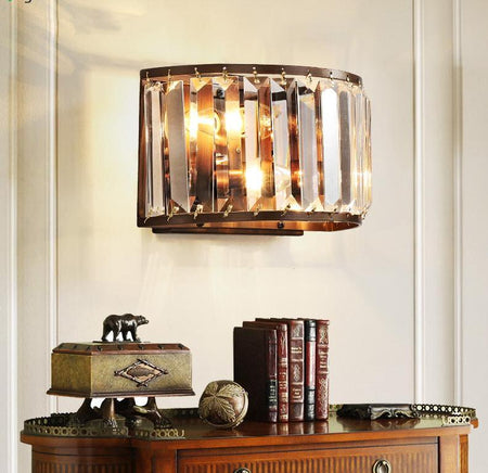 Crystal & Iron Wall Lamp (Various Options) Copper / Warm Light Mounted