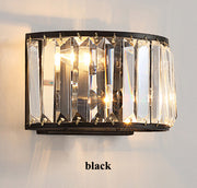 Crystal & Iron Wall Lamp (Various Options) Black / Warm Light Mounted