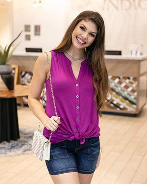 Button Up Crepe Sleeveless Top -