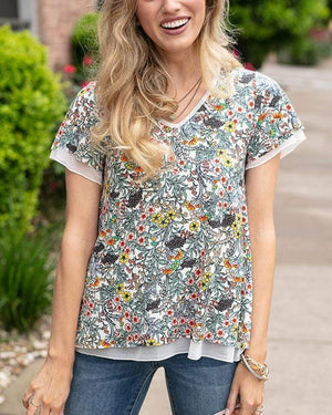 Tiered Mesh Tee - Floral / XS