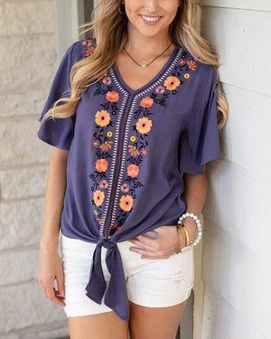 La Playa Embroidery Top - Twilight Purple / XS