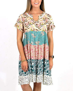 Patchwork Peasant Dress -