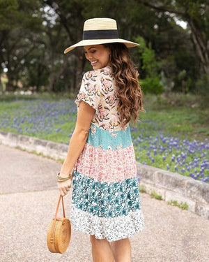 Patchwork Peasant Dress