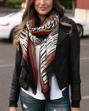 (**sale**) Border Print Scarf in Abstract Zebra