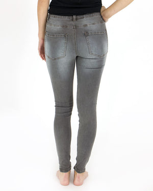 Button Fly Distressed Jegging by Grace and Lace