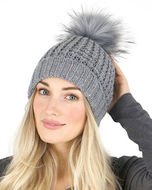 (**new item**) Faux Fur Pom Hat by Grace and Lace