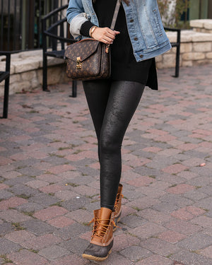 (**new item**) Leather Look Fleece Lined Leggings by Grace and Lace