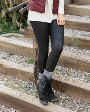 Leather Look Fleece Lined Leggings by Grace and Lace