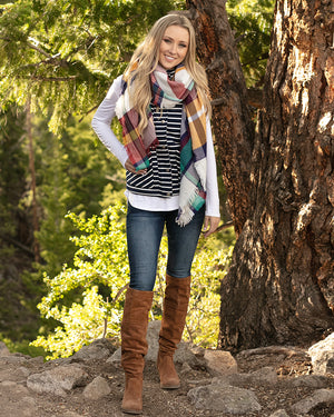Knit Puffer Vest in Navy/White Stripe by Grace and Lace