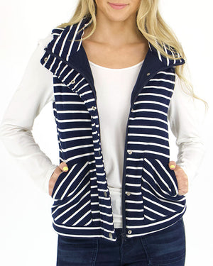 (**sale**) Knit Puffer Vest in Navy/White Stripe by Grace and Lace