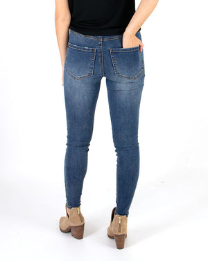(**new color**) Non-Distressed Waist Shaper Jeggings in Dark Mid Wash