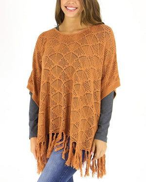 (**new item**) Pointelle Knit Poncho by Grace and Lace
