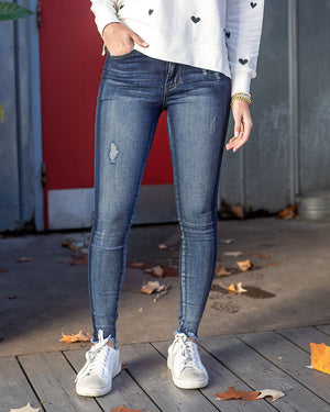 Shadow Stripe Mid-Rise Jeggings