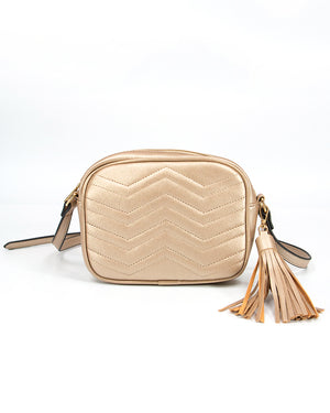 Quilted Crossbody Swing Bag in Gold