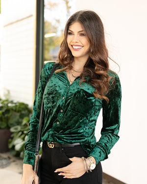 (**sale**) Tinsel Velvet Button Up by Grace and Lace