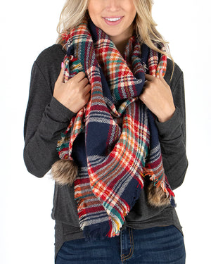 (**new color**) Triangle Scarf in Colorful Navy