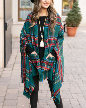 Winter Weight Pocket Poncho in Andes Plaid