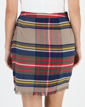 (**new item**) Stretch Flex Plaid Wrap Skirt