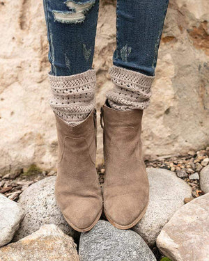 Alpine Knit Top Bootie Socks Barley