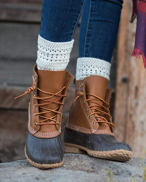 Alpine Knit Top Bootie Socks Tweed