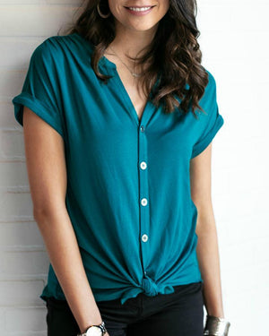 Button Up Crepe Top Teal / XS