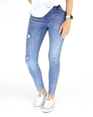 Classic Distressed Mid Rise Pull On Denim -