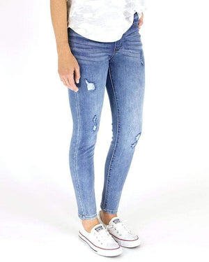 Classic Distressed Mid Rise Pull On Denim - Mid Wash / XS
