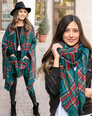 (**final sale**) Winter Weight Pocket Poncho in Andes Plaid